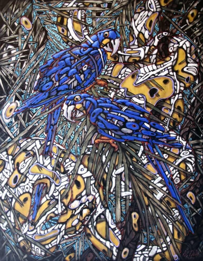 """""""Araras-azuis"""", óleo s/tela, 70x90cm, 2018, Bogdan Dide. (Coleção particular)."""